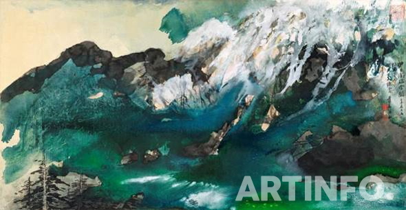 Zhang Daqian, 'Manchurian Mountains'. Splashed ink and colour on paper mounted on cardboard, framed, 101 by 196 cm.(사진=Sotheby's)