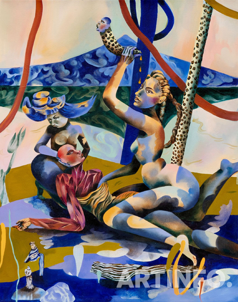Jessie MAKINSON, 'Slippery Darling'. Oil on canvas, 95 x 70 cm | 37 3/8 x 27 9/16 in Unique, 2019. (사진=Perrotin Seoul)