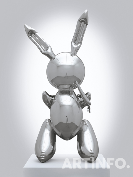 Jeff Koons , 'Rabbit'. executed in 1986. This work is number two from an edition of three plus one artist's proof and is accompanied by a certificate of authenticity signed by the artist. Stainless steel. 41 x 19 x 12 in (104.1 x 48.3 x 30.5 cm). Sold for $91,075,000 on 15 May 2019 at Christie's in New York © Jeff Koons.